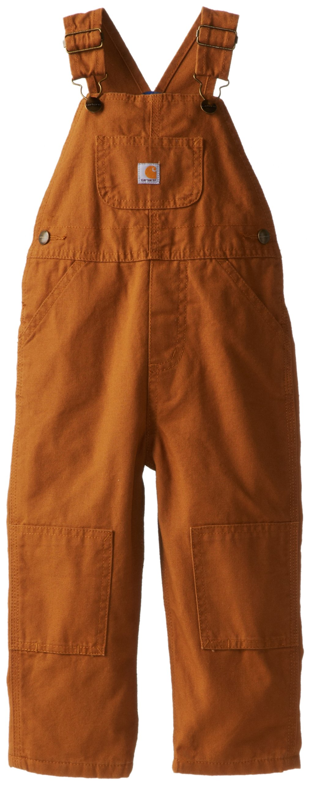 Carhartt Little Boys' Washed Canvas Flannel Lined Bib Overall, Brown, 4T