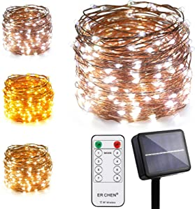 ErChen Dual-Color Solar Powered LED String Lights, 100FT 300 LEDs RF Remote Control Color Changing 8 Modes Copper Wire Decorative Fairy Lights for Outdoor Garden Patio (Warm White, White)