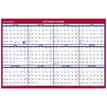 Amazon.Com : At-A-Glance Wall Calendar 2017, Erasable, 36 X 24