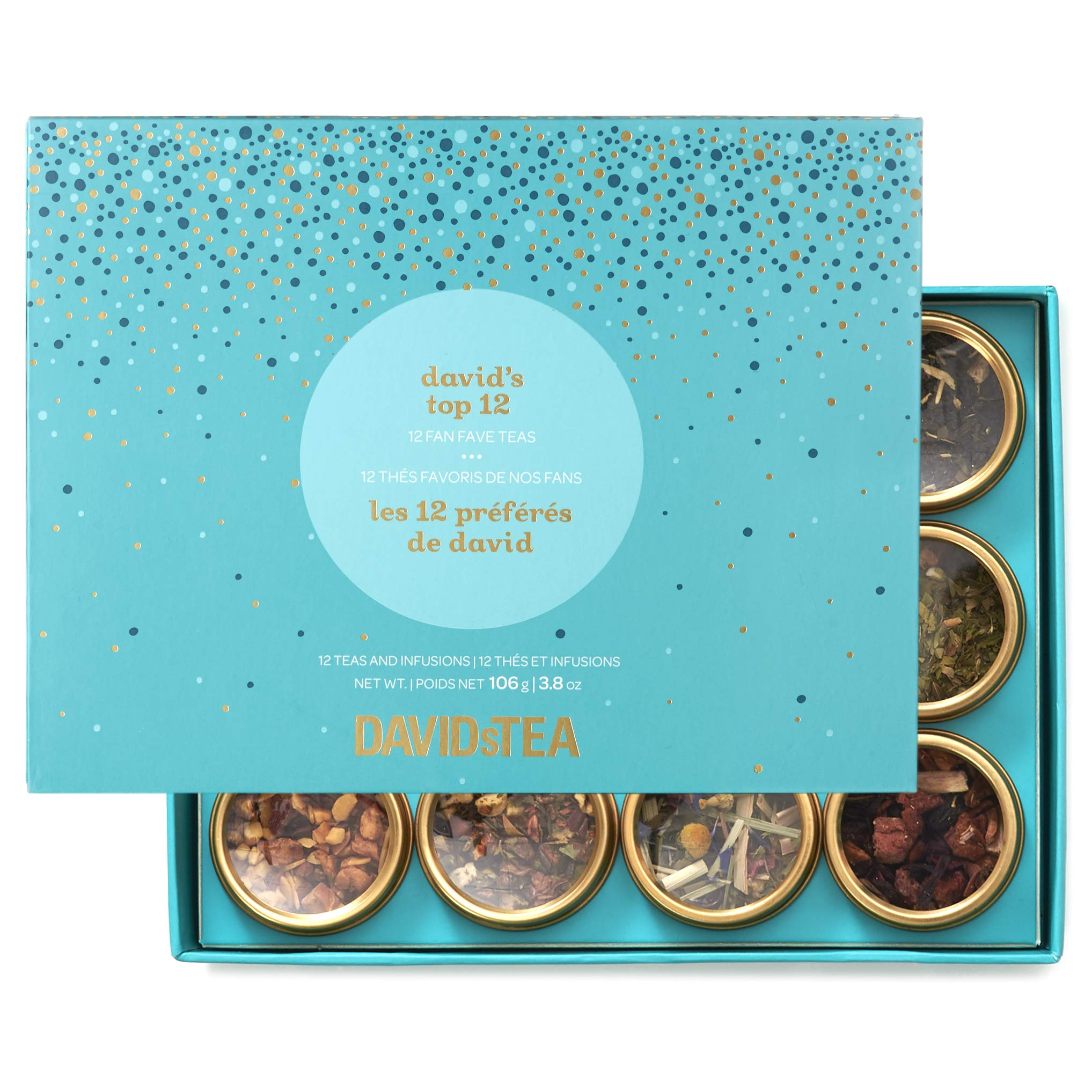DAVIDsTEA David's Top 12 Tea Sampler, Loose Leaf Tea Gift Set, Assortment of 12 Fan Favourite Teas, 106 g / 3.8 oz (SP) by DAVIDsTEA