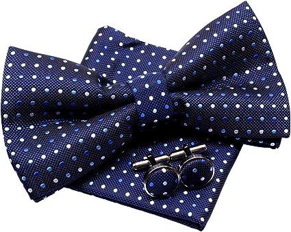 taille unique HISDERN Ensemble de noeuds papillon a carreaux en jacquard pour hommes taille unique bleu bleu//gris