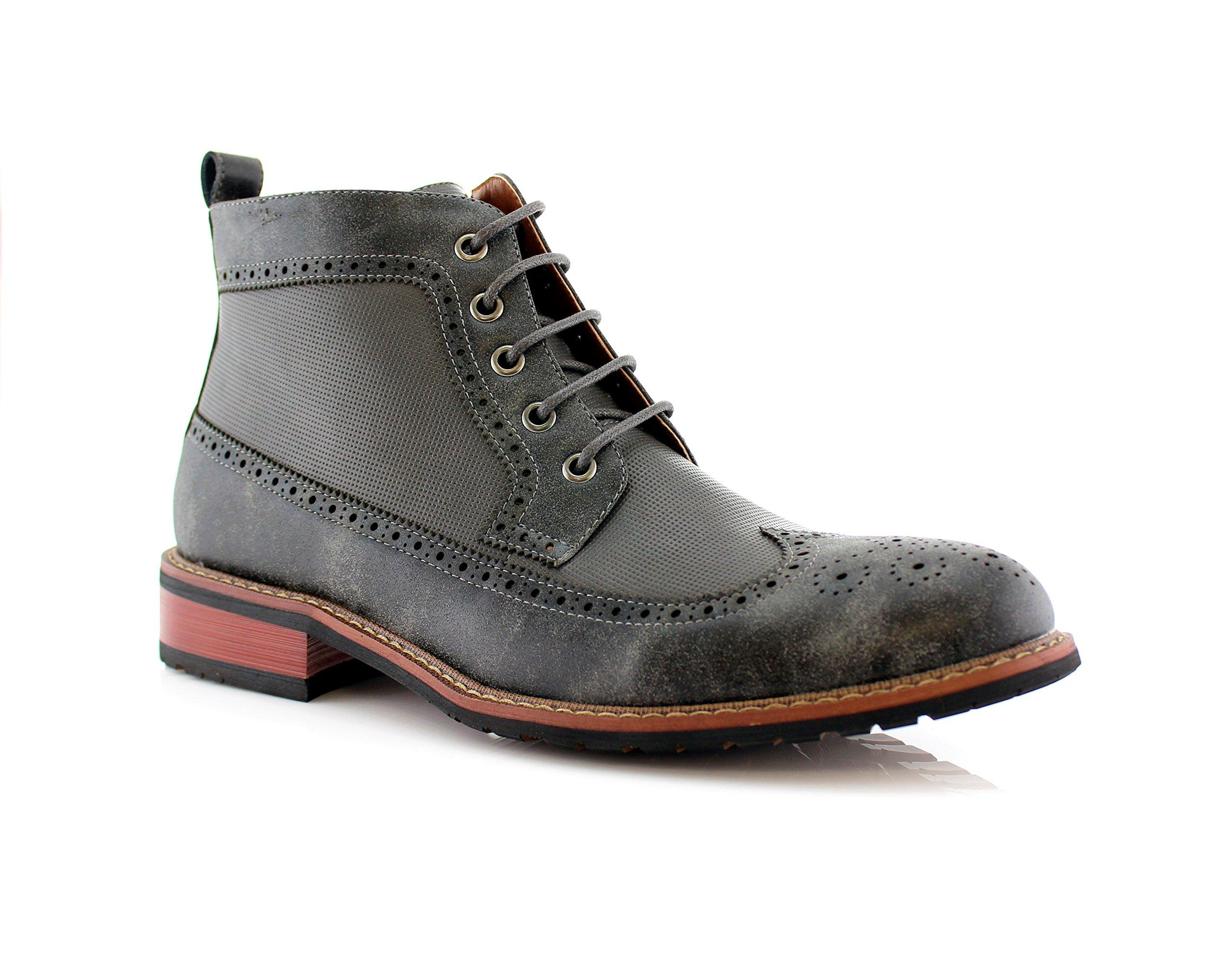 Ferro Aldo Michael MFA806278 Mens Casual Wing Tip Perforated Mid -Top Brogue Boots - Grey, Size 10 by Ferro Aldo