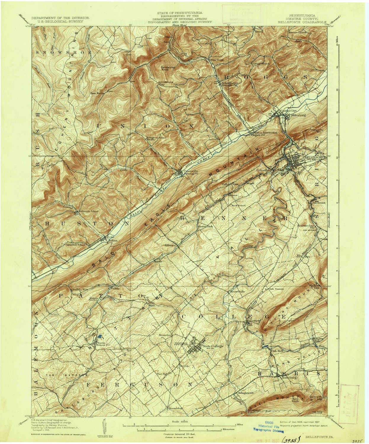 15 X 15 Minute 19.9 x 16.6 in Historical 1909 Updated 1937 Bellefonte PA topo map 1:62500 Scale