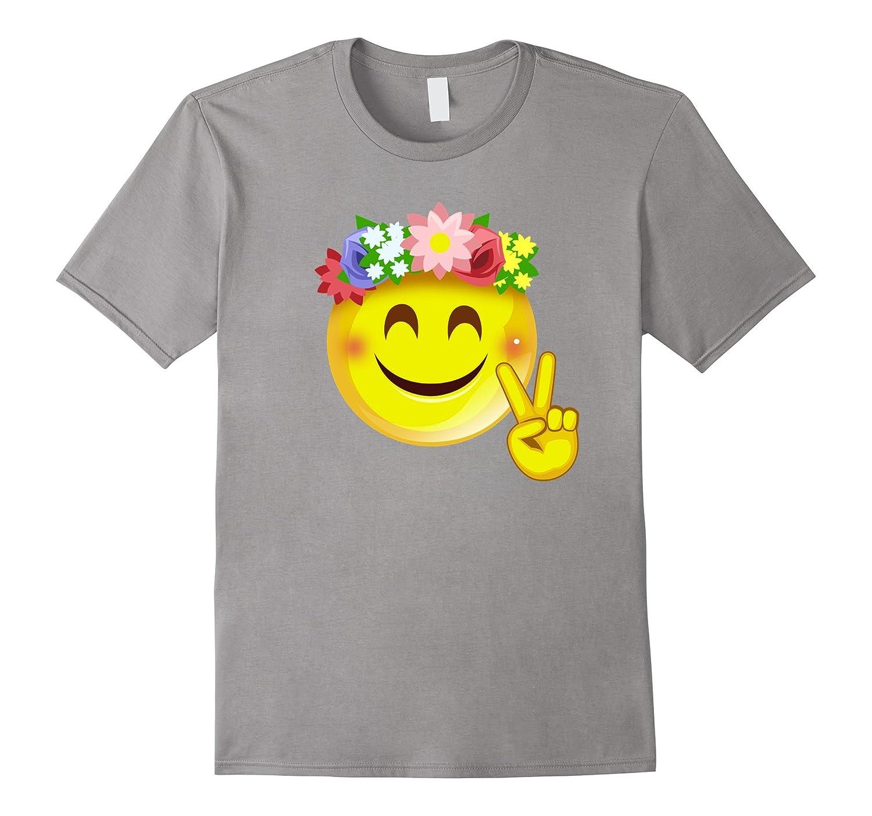 Hippie Flower Power Crown Smiley Pacea Sign Emoji T Shirt Anz