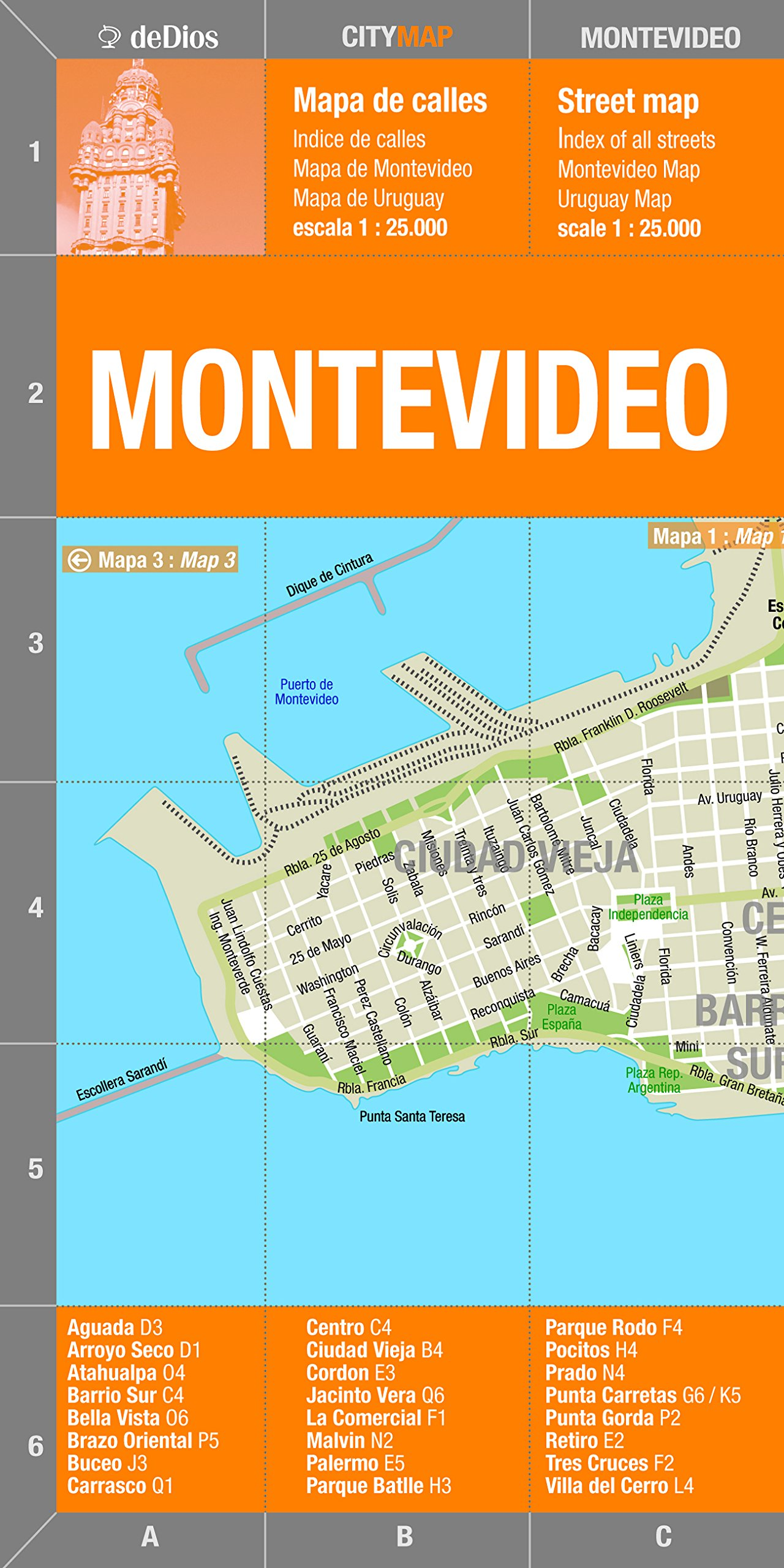 Montevideo Argentina Map Spanish And English Edition De Dios - Argentina map in spanish