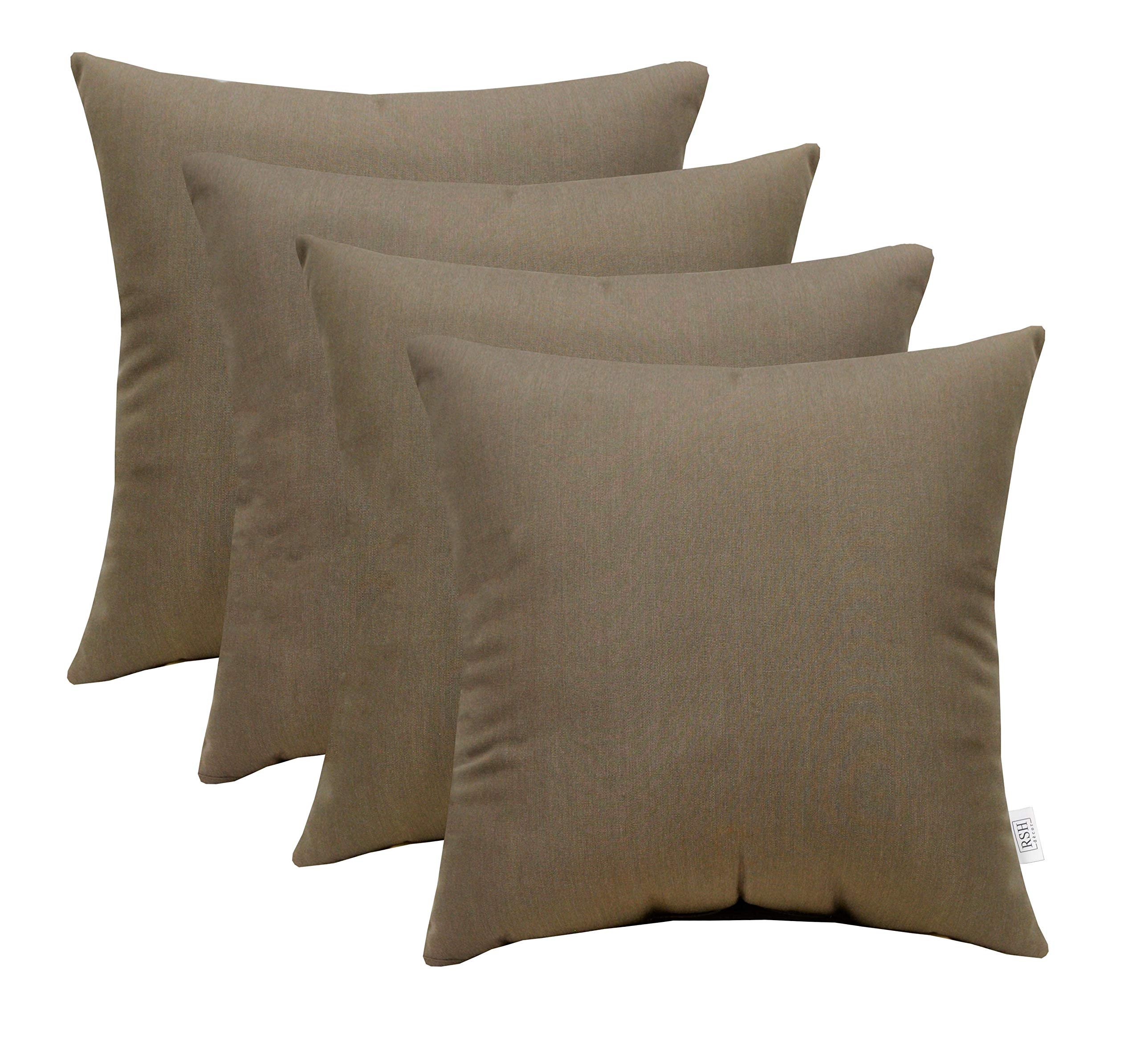 RSH Décor Set of 4 Indoor/Outdoor Square Throw Pillows Sunbrella Canvas Taupe (17'' x 17'')