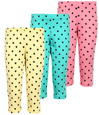 MINNOW Girl's Cotton Heartin Printed 3/4th Capris Pants(Aqua;Light Grape;Light Red;4-15 Years) - Pack of 3 Girls' Shorts at amazon