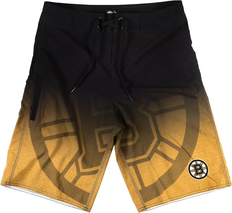 KLEW NHL Boston Bruins Gradient Board Shorts, Large, Black