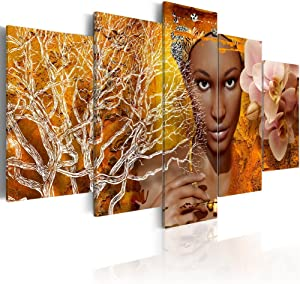 Konda Art African Sexy Woman Portrait Canvas Art Modern Abstract 5 Piece Painting for Wall Home Decor Living room Picture Artworks Framed and Ready to Hang (Tales from Africa, 40