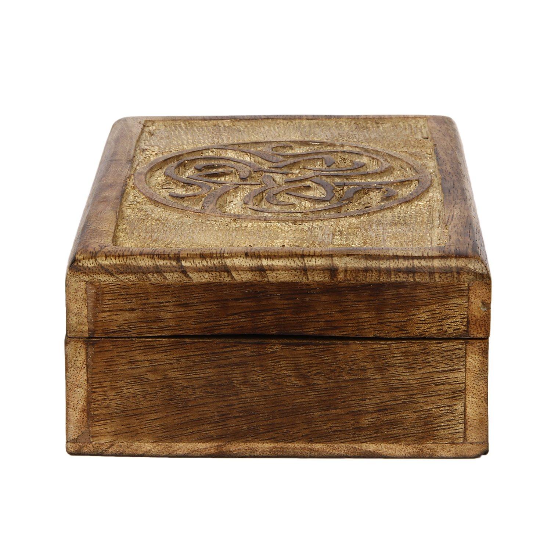 7 x 5 inches Icrafts India Celtic Wooden Jewelry Trinket Box Decorative Keepsake Box Multipurpose Storage