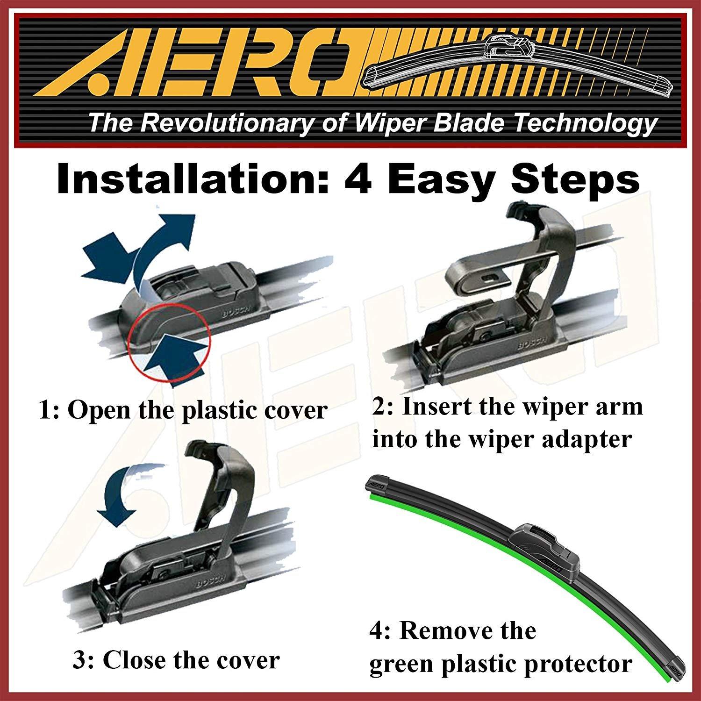 OEM QUALITY 24 Set of 2 19 AERO Premium All-Season Windshield Wiper Blades