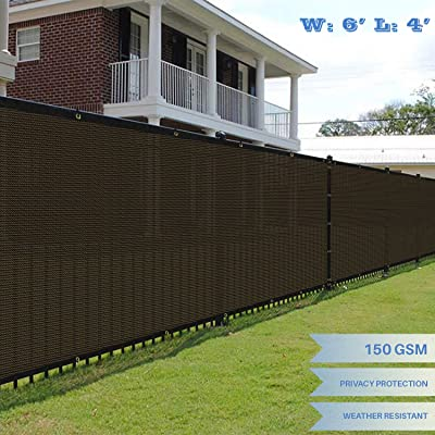 E&K Sunrise 6' x 4' Brown Fence Privacy Screen, Commercial Outdoor Backyard Shade Windscreen Mesh Fabric 3 Years Warranty (Customized Set of 1 : Garden & Outdoor