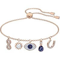 Swarovski Women's Symbolic Charm Bracelet, Brilliant White and Blue Crystals with Rose-gold Tone Plated Metal, from the…