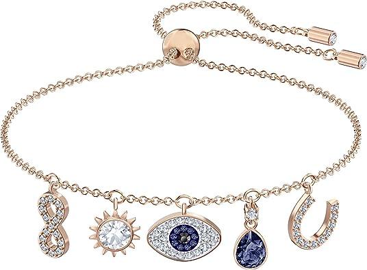 SWAROVSKI Women's Symbolic Evil Eye Charm Bracelet, Blue & White Crystal,  Rose-Gold Tone Plated, One size (5497668)
