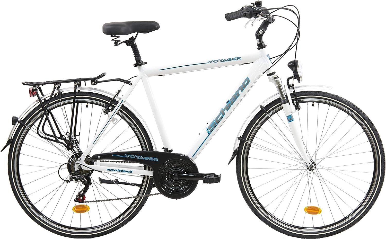 F.lli Schiano Voyager Bicicleta Trekking, Men's, Blanco-Azul, 28''
