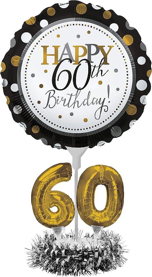 Amazon.com: Kit de centro de mesa de globos, Happy 60th ...