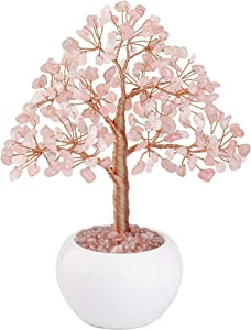CrystalTears Rose Quartz Crystal Money Tree Feng Shui Natural Healing Crystal Gemstone Bonsai Tree for Home Office Decor Good Luck