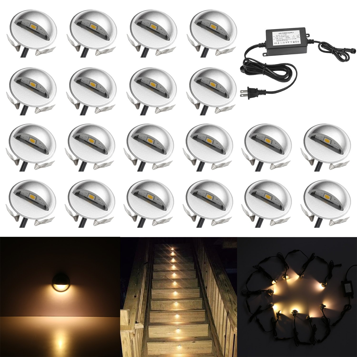 QACA 20 Pack LED Stair Lights Kit Low Voltage Waterproof IP65 Outdoor 1-2/5'' Recessed Wood LED Deck Lighting Yard Garden Patio Step Landscape Pathway Decor Lamps, Warm White by QACA