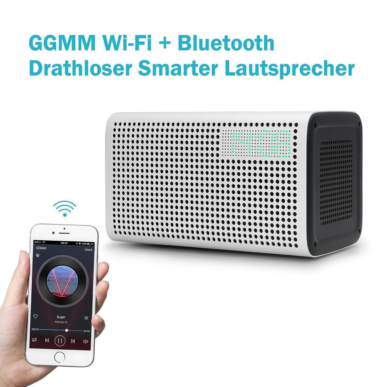 GGMM E3 Altavoz Bluetooth Inteligente WiFi Audio Multiroom Sonido Estéreo Sonido Potente Altavoces con Reloj LED y Puerto de Carga USB
