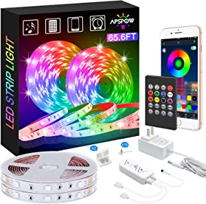 LED Strip Lights, 65.6ft LED Light Strips Multicolors, 5050 LED Tape Lights, Music Sync Color Changing+Remote Control +APP Controlled LED Strip Lights for Bedroom Party Home Decoration