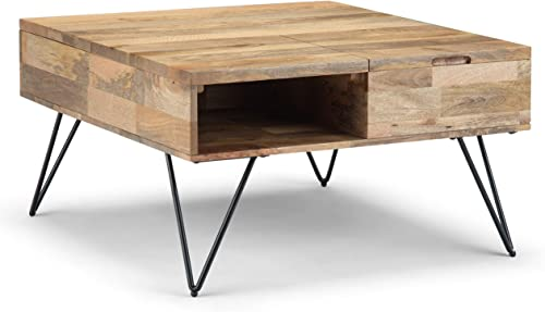 SIMPLIHOME Hunter SOLID MANGO WOOD and Metal 32 inch Wide Square Industrial Contemporary Lift Top Coffee Table
