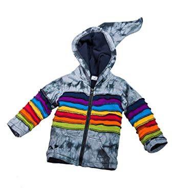 018825d3aea3 Kunst und Magie Kinder  Regenbogen  Batik Jacke mit Zipfelkapuze Patchwork  Goa Psy Wichtel,