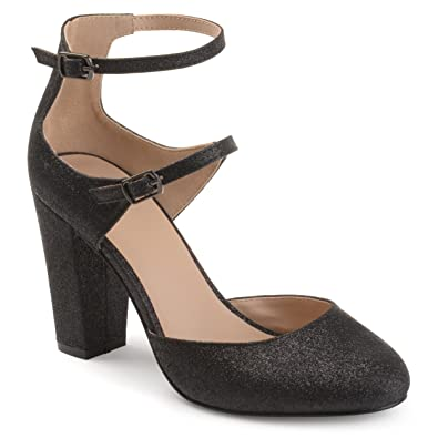 e61e7745eb1 Journee Collection Womens Double Strap Glitter Chunky High Heels Black