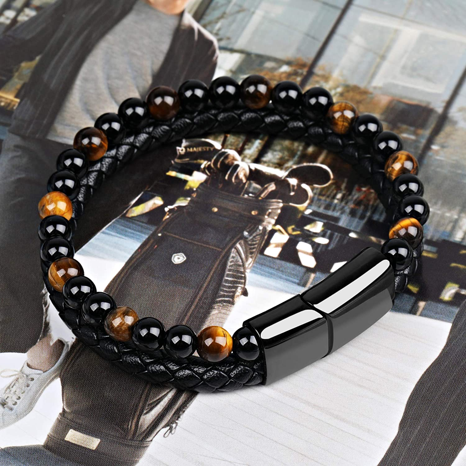 Mens Bracelet Anchor Black Leather Bracelet Natural Bead Bracelets with Stainless Steel Magnetic Clasp Handmade Braided Cuff Leather Bracelets for Men