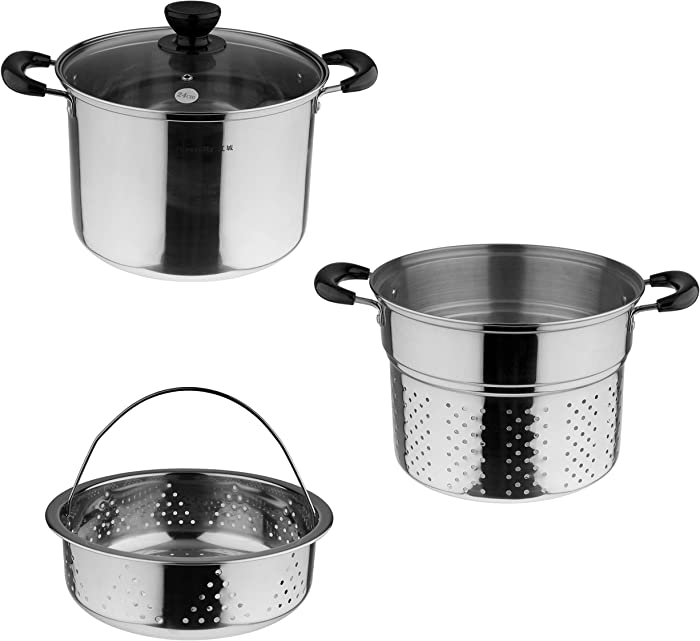 Lake Tian Stainless Steel Pasta Pot With Strainer Insert 4 Piece 10 Quart Pasta Pots, Cooker Pots, Steamers, Steamers, Stock & Pasta Pots Multipots, Steamer Set With Basket With Lid
