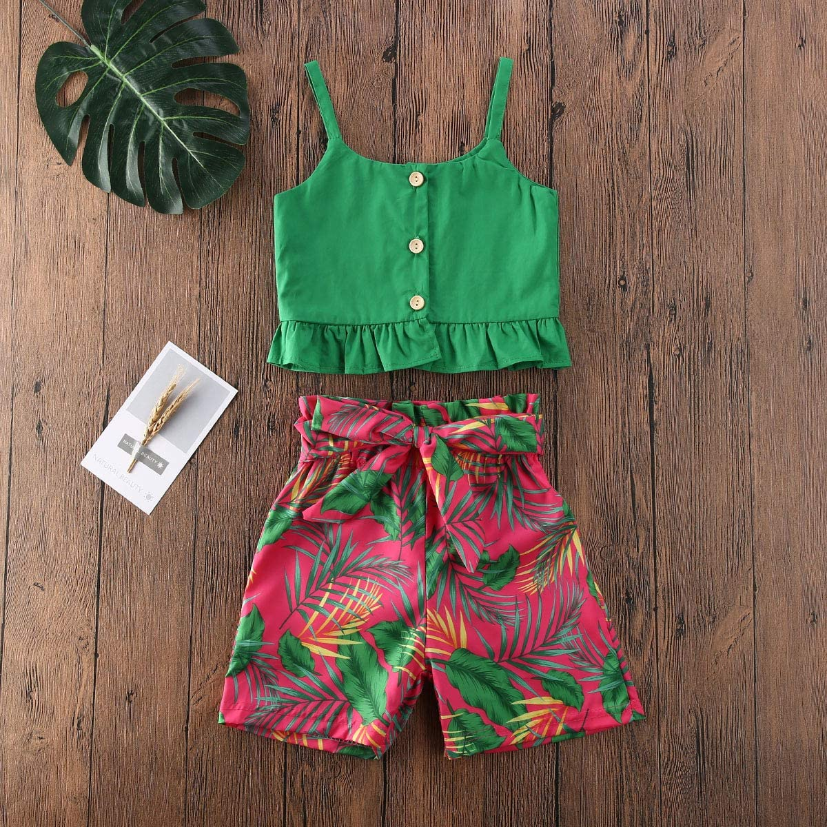 Long Skirts Outfits Clothes Set Toddler Baby Girl Strap Banana Leaf Print Strappy Cold Shoulder Cropped Top