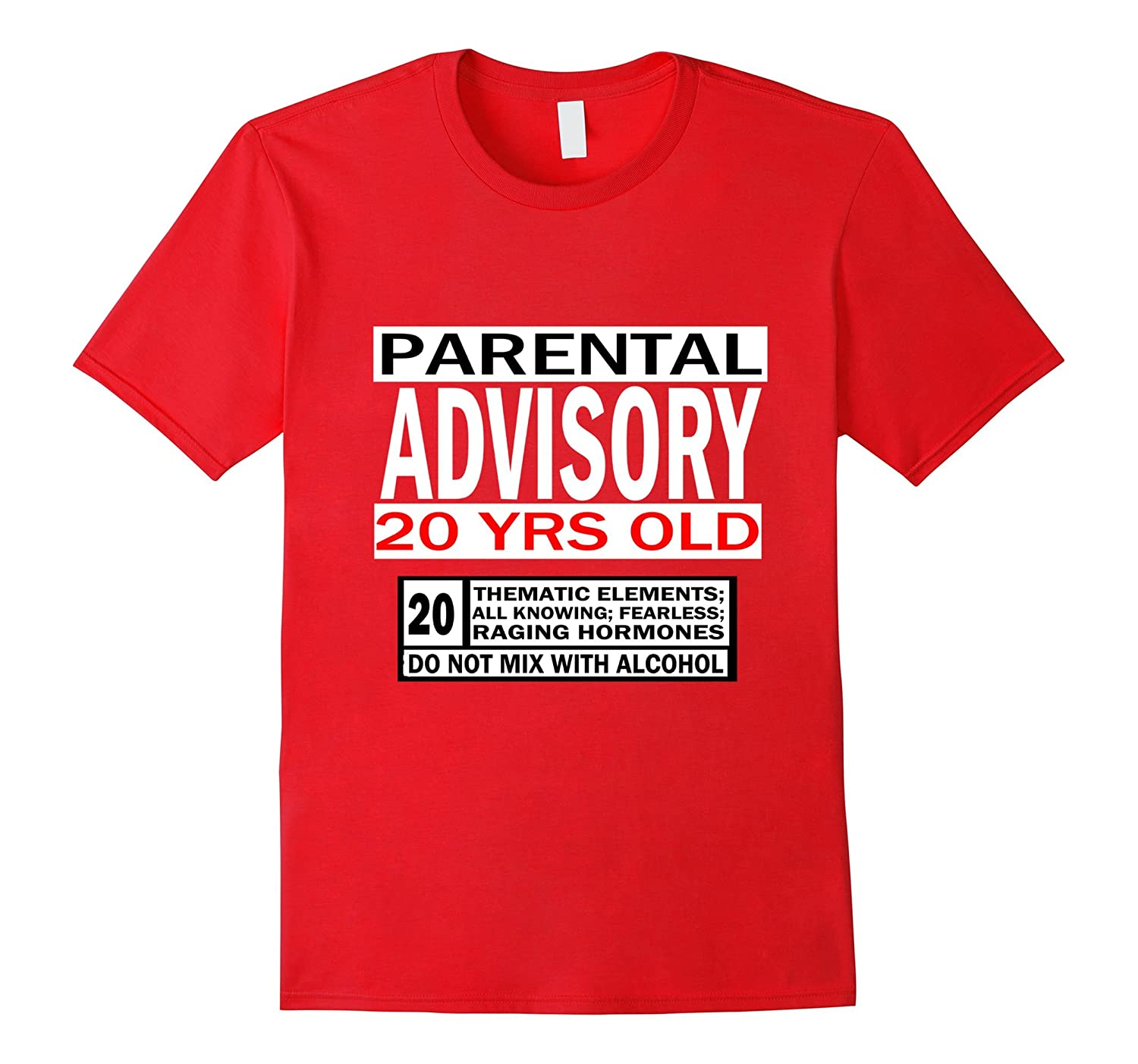 20 Year Old Birthday Shirt Gift Parental Warning Young Adult PL Polozatee