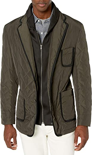 Tallia Men's Vetro Quilted Jacket with Removable Lining, Olive, XXL