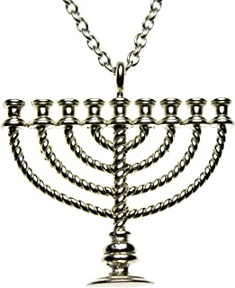 "product image for From War to Peace Menorah Silver-Dipped Pendant Necklace on 20"" Rolo Chain"