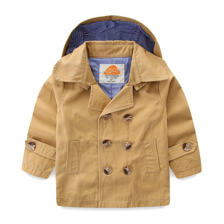 Mud Kingdom Toddler Boy Trench Coats with Hood 2T Khaki