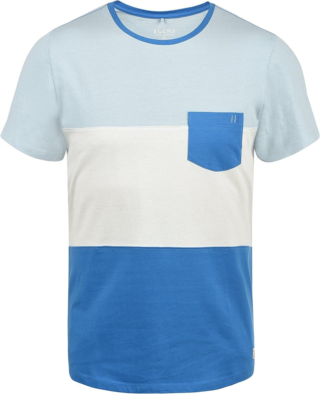 BLEND Nemo Camiseta De Rayas Básica De Manga Corta para Hombre con Cuello Redondo: Amazon.es: Ropa y accesorios