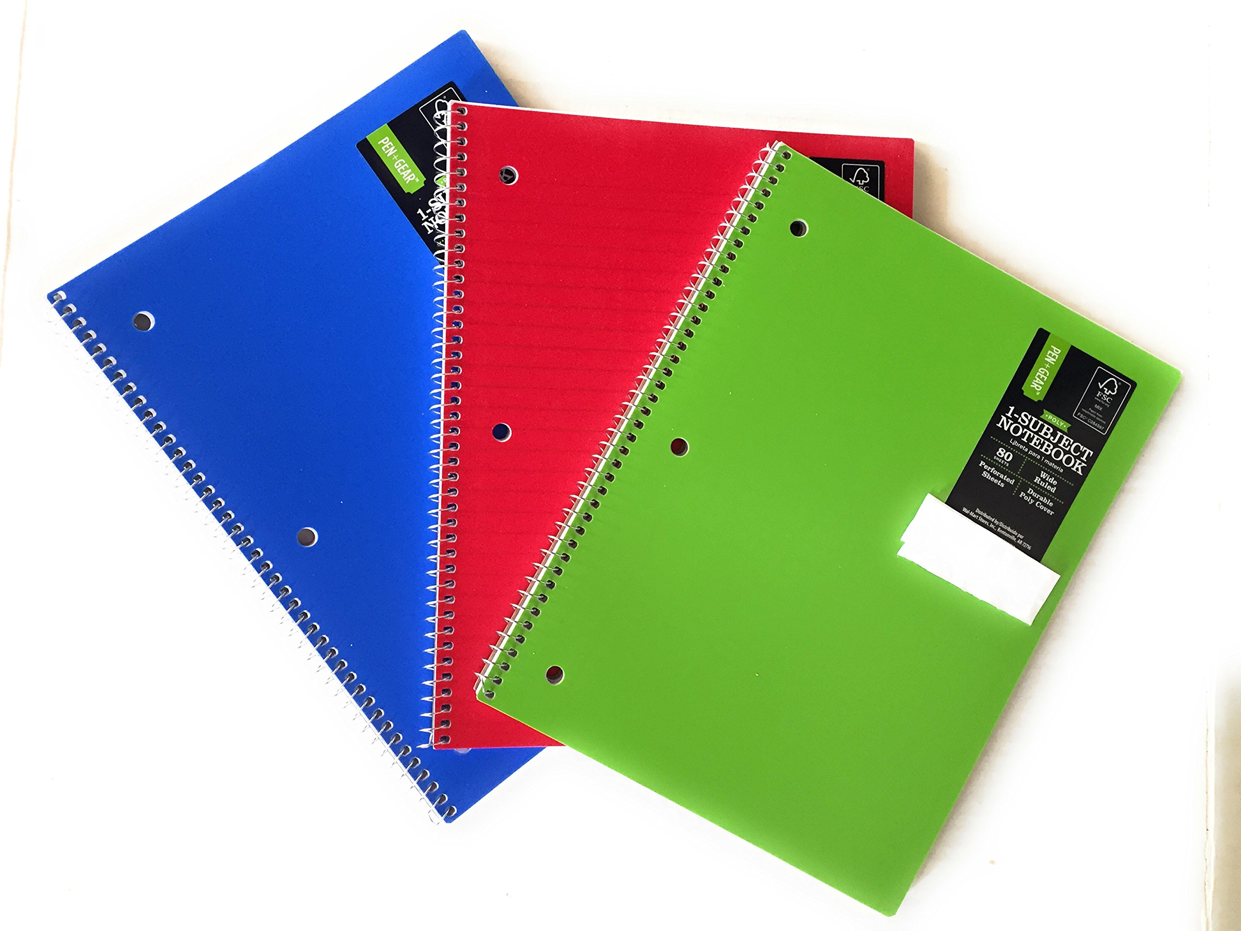 80ct Pen+Gear Poly Notebook (Wide Ruled) Pack of 3