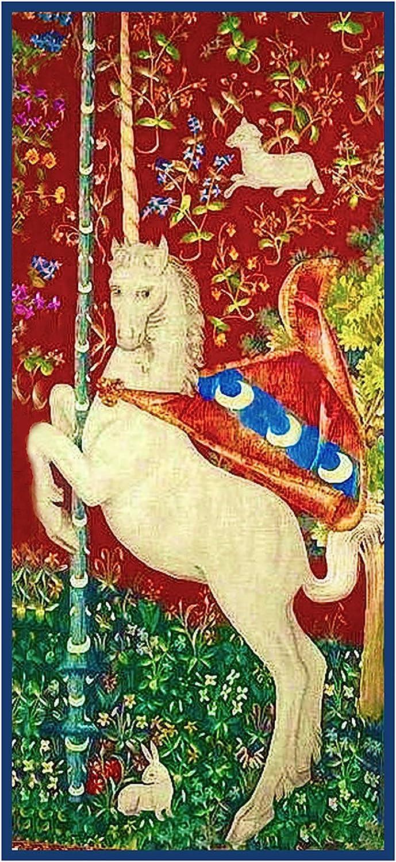 Unicorn detalle de la dama y el unicornio tapices de punto