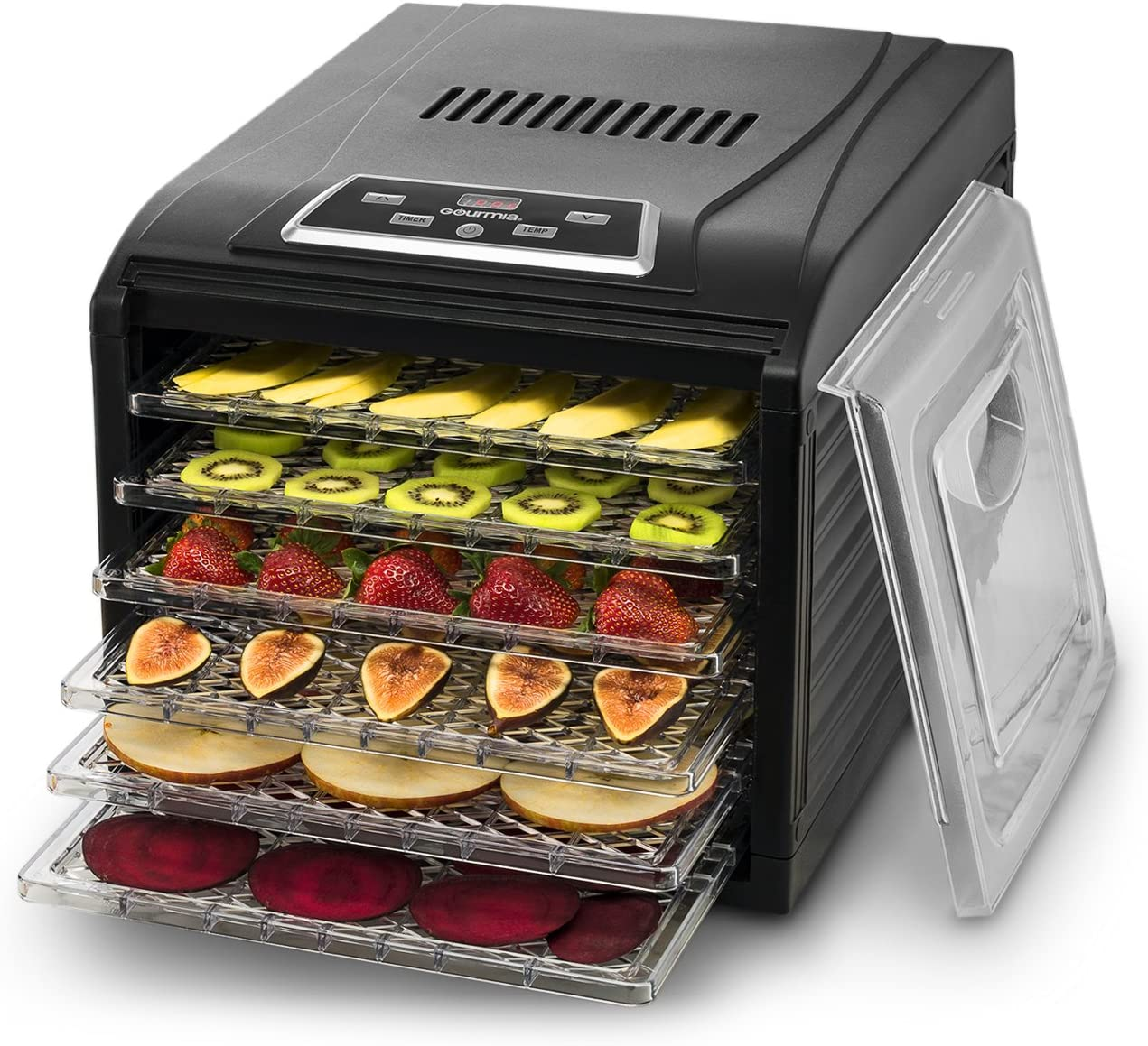 Gourmia GFD1650 Premium Electric Food Dehydrator Machine – Digital Timer and Temperature Control – 6 Drying Trays – Perfect for Beef Jerky, Herbs, Fruit Leather – BPA Free – Black