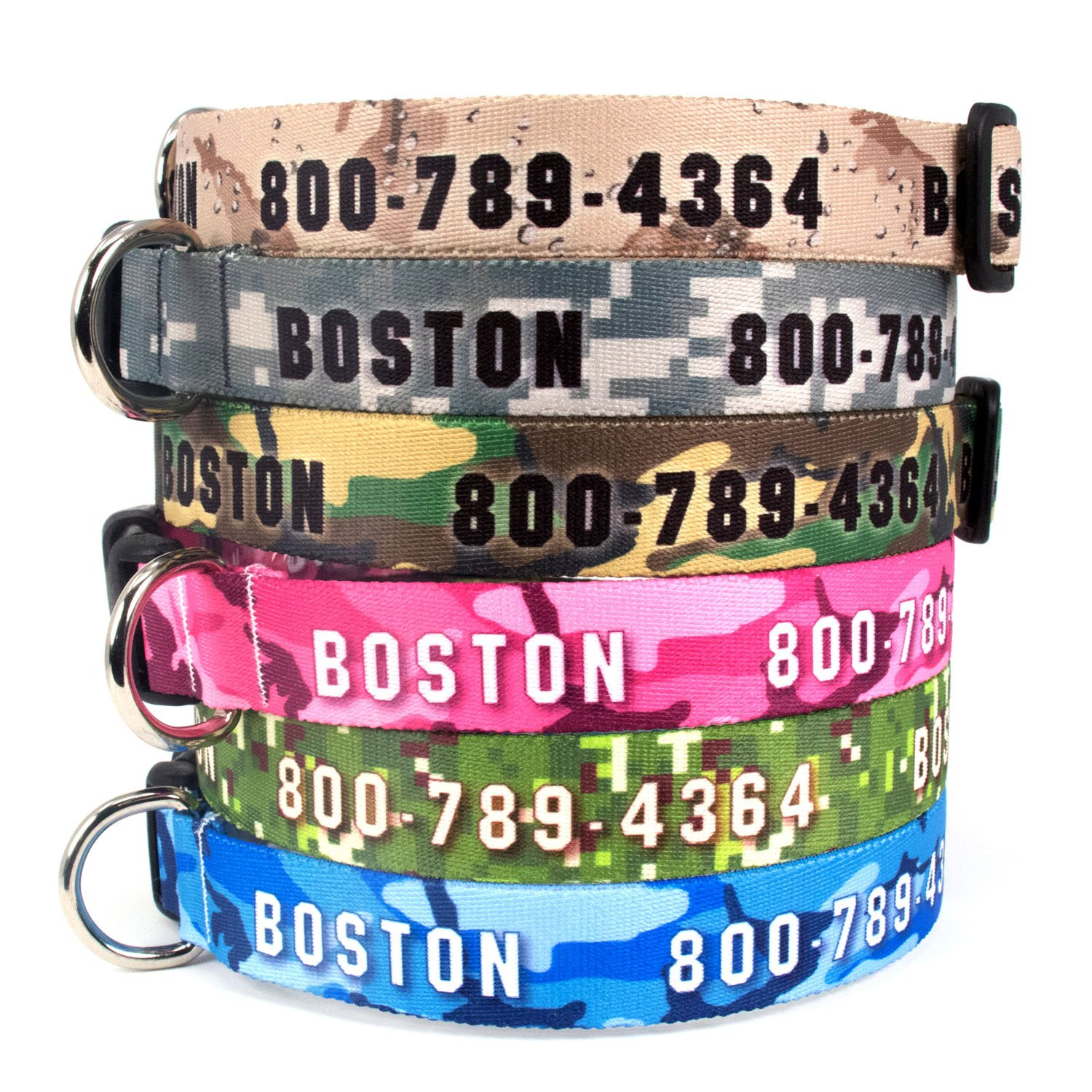 Buttonsmith Custom Personalized Camo Camouflage Dog Collar - Permanently Bonded Printing Process, Military Grade Rustproof Buckle, Resistant to Odors & Mildew, Choice of 5 Sizes, 100% Made in USA