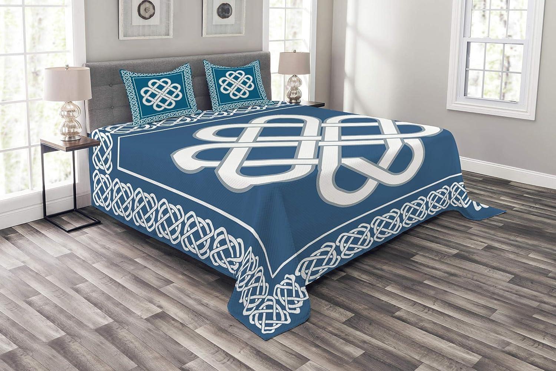 Abakuhaus irisch Tagesdecke Set, Celtic Liebes-Knoten-Symbol, Set mit Kissenbezügen farbfester Digitaldruck, für Doppelbetten 220 x 220 cm, Dunkles Aqua Weiß