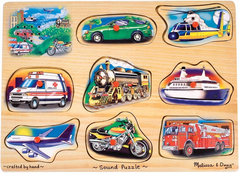 B0000Z4WZ4 Melissa & Doug Vehicle Sound Puzzle - Wooden Peg Puzzle With Sound Effects (8 Pieces) 81Ei8lyQKjL