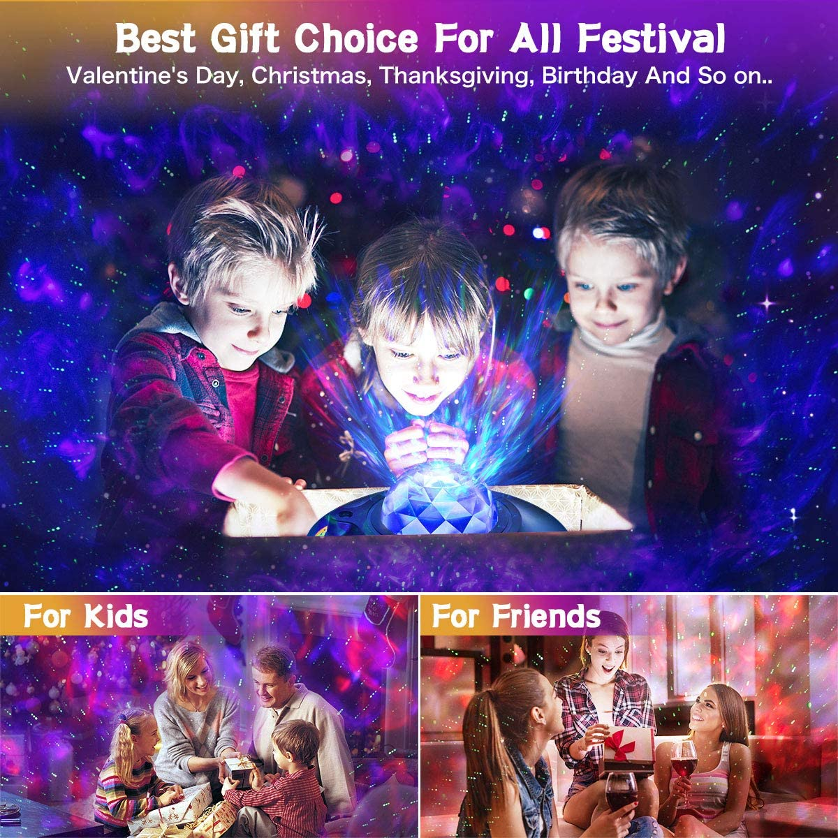 Remote Rotating Cloud Light for Kids Adults Bedroom Decoration Best Christmas Birthday Gifts Star Galaxy Cove Projector Sky Night Light Ocean Wave Projector with Bluetooth Speaker