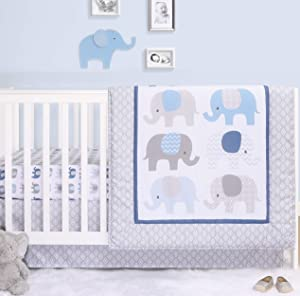 The Peanutshell Elephant Crib Bedding Sets for Boys | 3 Piece Nursery Set | Crib Comforter, Fitted Crib Sheet, Crib Skirt Included