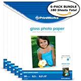 """Printworks Gloss Photo Paper for Inkjet Printers, 8.5 mil, (6 pack bundle) 180 Sheets, 8.5"""" x 11"""" (00470C)"""
