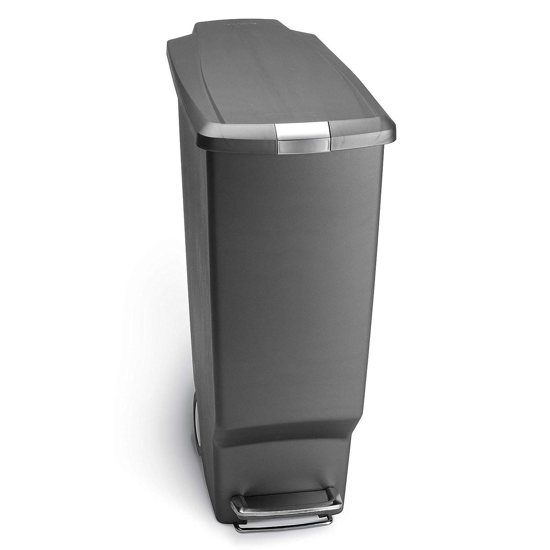 Simplehuman 40 Liter 10 6 Gallon Slim Kitchen Step Trash Can Grey Plastic With Secure Slide Lock