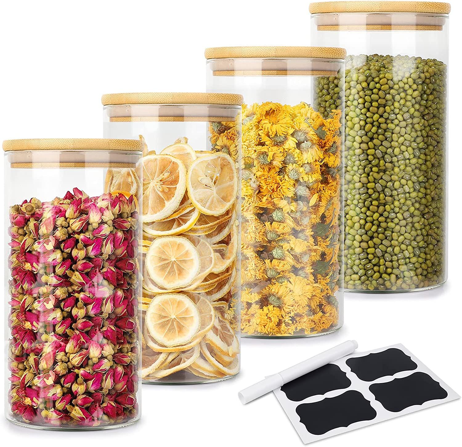 1200ml Glass Food Storage Jars Containers, 4 Pack Glass Cookies Jars with Airtight Bamboo Lid Kitchen Canisters Set for Jam Pasta Spaghetti Tea Coffee Beans Cookie Snack Flour (40.5OZ / 4 PACK)