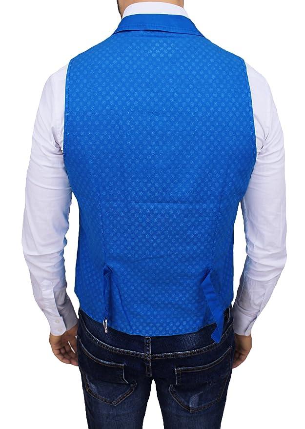 V. Trade Smanicato gilet uomo sartoriale azzurro casual in