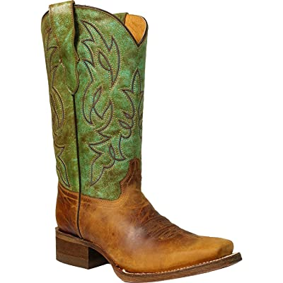 CORRAL Boys' and Green Honey Crisp Cowboy Boot Square Toe Honey 6 D