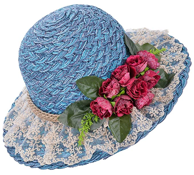 Victorian Style Hats, Bonnets, Caps, Patterns Straw Hat Beach Sun Hat Casual Bucket Hat with Flower for Ladies $16.69 AT vintagedancer.com