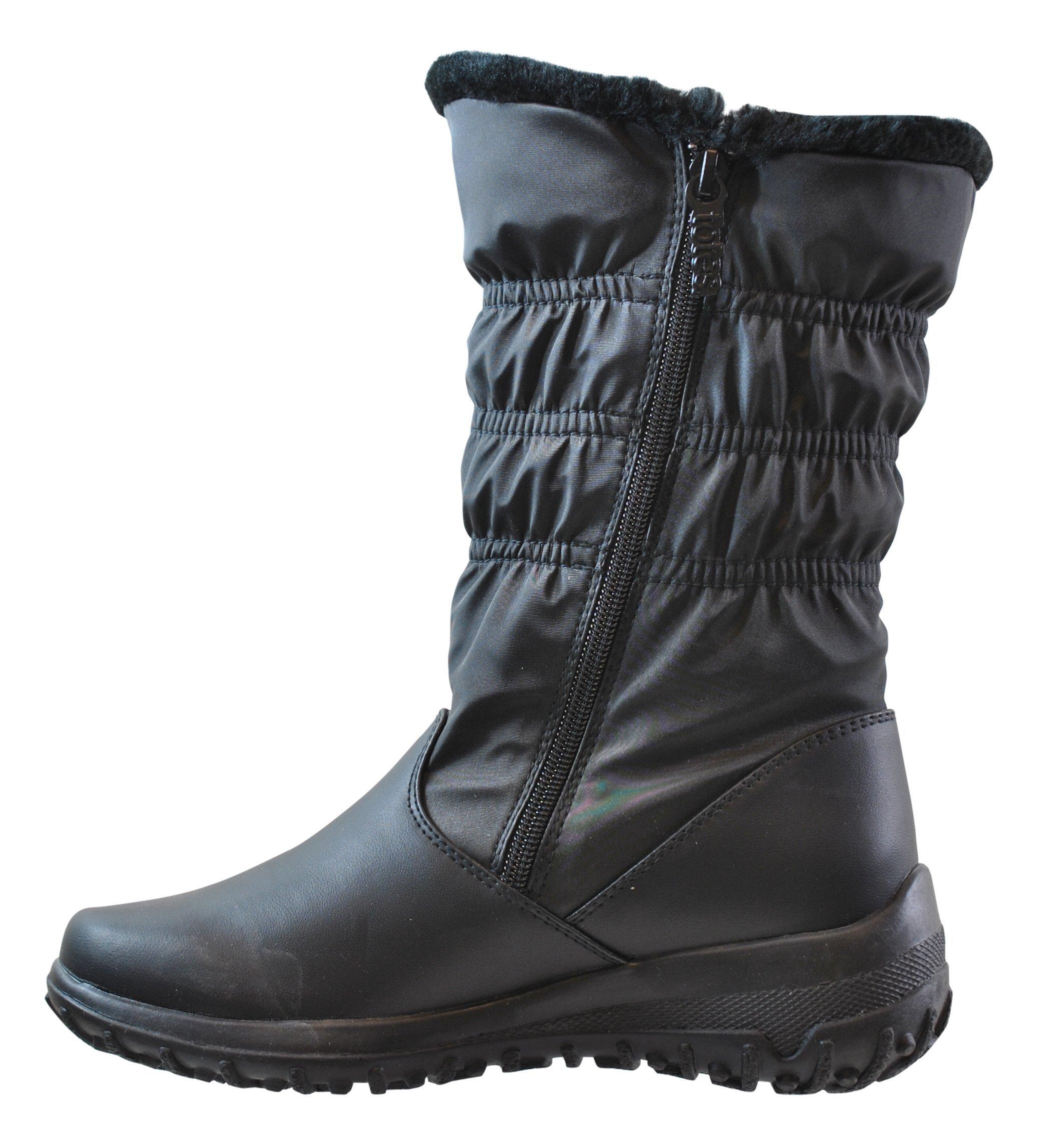 totes Women's Madina Double Zip Snow Boot, Regular Fit, Black, 7
